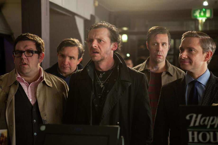 "This film publicity image released by Focus Features shows, from left,  Nick Frost,  Eddie Marsan, Simon Pegg,  Paddy Considine and Martin Freeman in a scene from ""The World's End."" (AP Photo/Focus Features, Laurie Sparham) ORG XMIT: NYET832 Photo: Laurie Sparham / Focus Features"
