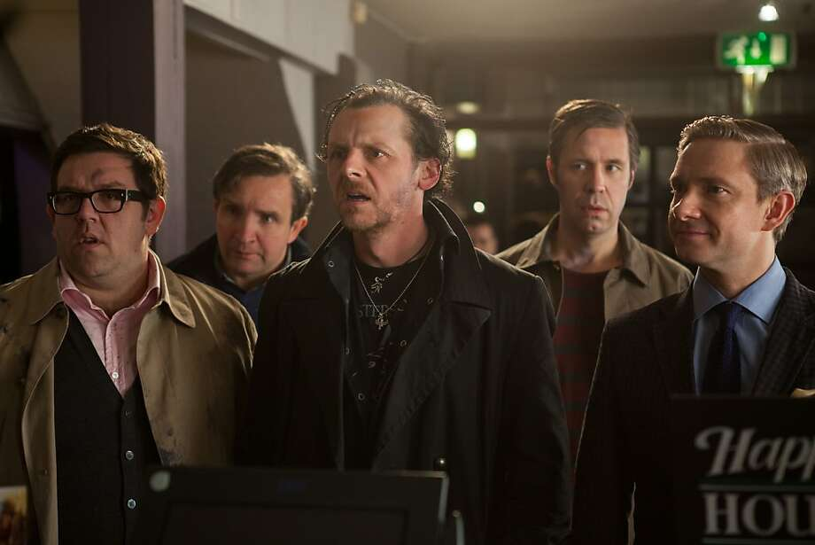 "Nick Frost (left), Eddie Marsan, Simon Pegg, Paddy Considine and Martin Freeman play old friends on a drinking binge in ""The World's End."" Photo:  Laurie Sparham, Focus Features"