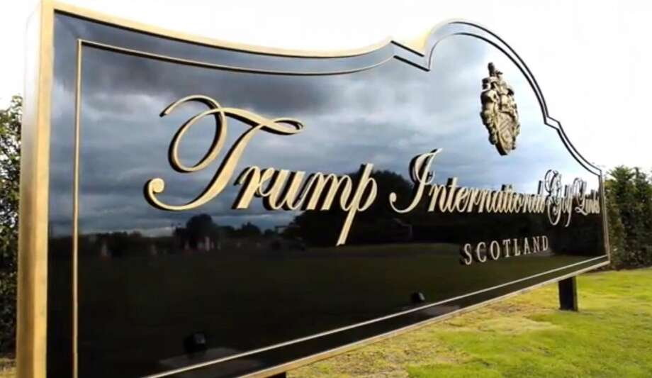 A sign welcomes visitors to Trump International Golf Links in Aberdeen, Scotland. Photo: Trump International Golf Club Scotland Limited