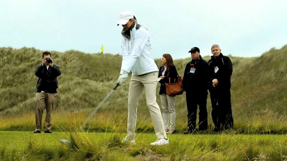 Ivanka Trump, Donald Trump's daughter and executive vice president of development and acquisitions at the Trump Organization, tees off on opening day at the Trump International Golf Links in July 2012. Photo: Trump International Golf Club Scotland Limited