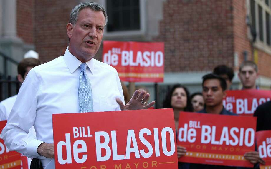 Democrat Bill de Blasio, the new frontrunner in the New York mayoral race, is a longtime Boston Red Sox fan.   Photo: Mario Tama, Getty Images / 2013 Getty Images
