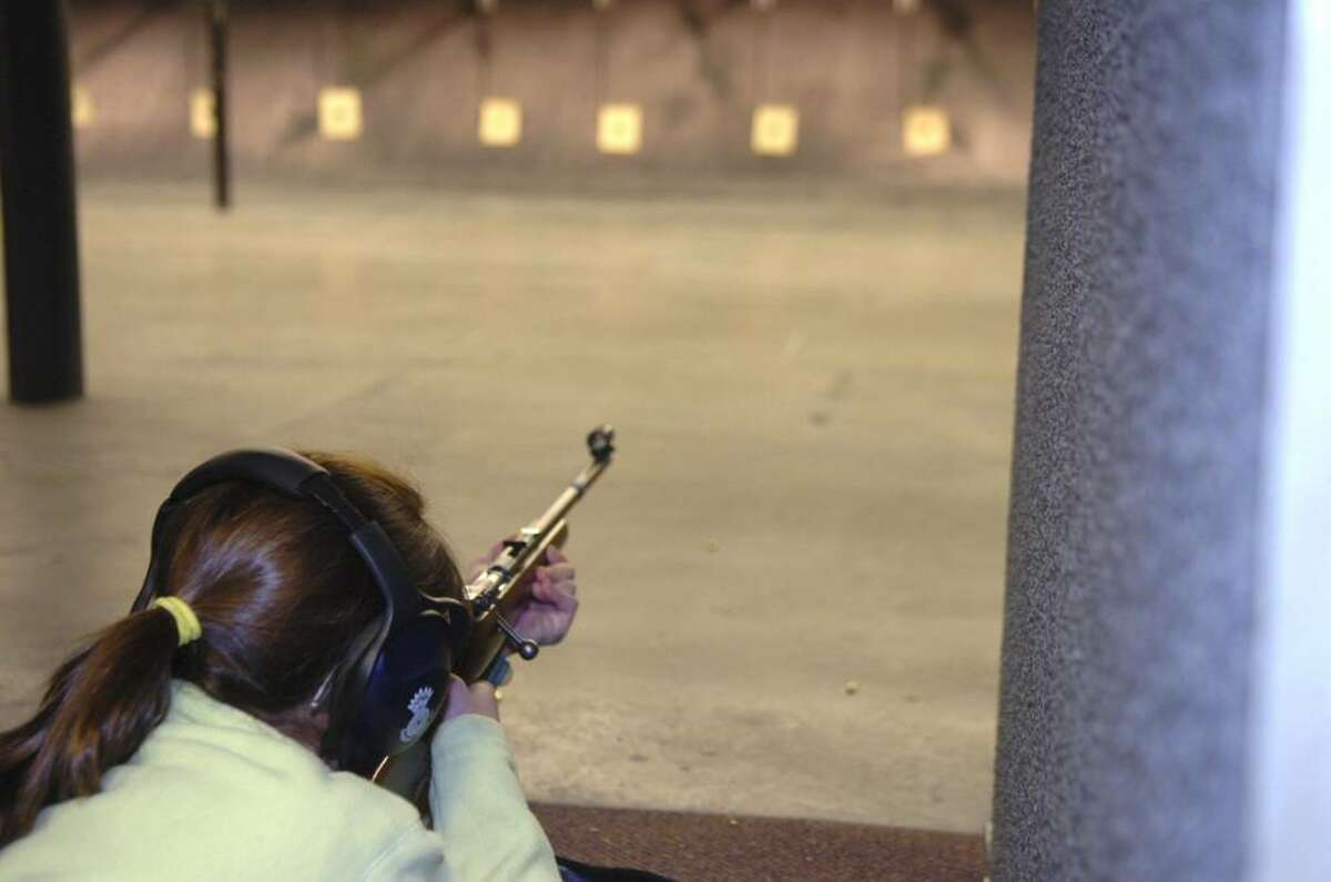 Greenwich, Jan. 10, 2010. Rachel Herman, 14, takes aim at a target at the Cos Cob Revoler and Rifle CLub. This was one of the