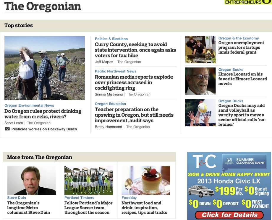 "They have a profoundly humorless newspaper. Even the locals call it the Snoregonian.Here's the front page from Wednesday morning (just so you know we didn't go looking for the example we wanted, this screen grab was take when this gallery was being created). Note the attempt at big-city grit: ""Oregon Ducks may add sand volleyball as varsity sport in move a senior official calls 'no-brainer'"" – or, the subject matter in their columnists latest epistle: ""The Oregonian's longtime Metro columnist Steve Duin"" … Might as well say, ""We don't know what he's writing about, because we couldn't get through it either. But, he's been here a hell of a long time, and that should be good enough for you!"" Photo: Multiple"