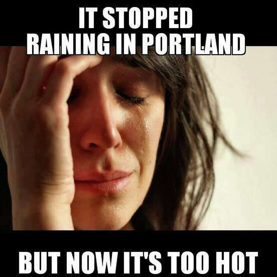 Portlanders don't get the credit Seattle does for suffering through months of rain and cloud cover, even though they clearly have the same complex relationship with their weather. The meme was taken from Pizza Schmizza's Twitter feed.  Photo: Multiple
