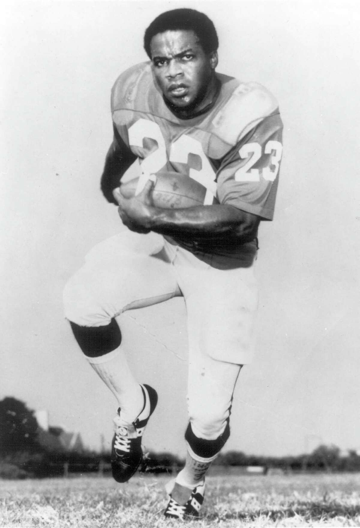 Jerry LeVias (#23) of the Southern Methodist Mustangs poses before a circa 1960s game. LeVias played for Southern Methodist from 1965-67.