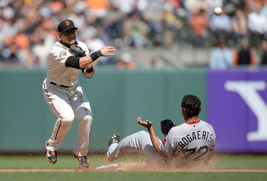SAN FRANCISCO, CA - AUGUST 21:  Marco Scutaro #19 of the San Francisco Giants gets his throw off to complete the double play as Xander Bogaerts #72 of the Boston Red Sox slides into second base in the eighth inning at AT&T Park on August 21, 2013 in San Francisco, California.  (Photo by Thearon W. Henderson/Getty Images) Photo: Thearon W. Henderson, Getty Images
