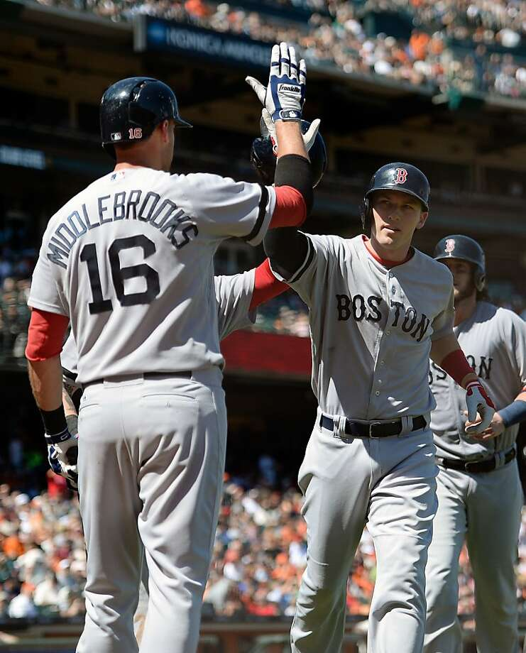 SAN FRANCISCO, CA - AUGUST 21:  Stephen Drew #7 of the Boston Red Sox is congratulated by Will Middlebrooks #16 after Drew hit a three-run homer in the seventh inning against the San Francisco Giants at AT&T Park on August 21, 2013 in San Francisco, California.  (Photo by Thearon W. Henderson/Getty Images) Photo: Thearon W. Henderson, Getty Images