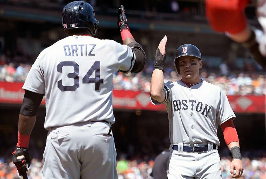 SAN FRANCISCO, CA - AUGUST 21:  Jacoby Ellsbury #2 and David Ortiz #34 of the Boston Red Sox celebrate after Ellsbury scored on a Dustin Pedroia RBI double in the third inning against the San Francisco Giants  at AT&T Park on August 21, 2013 in San Francisco, California.  (Photo by Thearon W. Henderson/Getty Images) Photo: Thearon W. Henderson, Getty Images