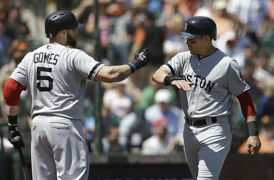 Boston Red Sox's Jacoby Ellsbury, right, is congratulated by Jonny Gomes after scoring against the San Francisco Giants during the third inning of a baseball game in San Francisco, Wednesday, Aug. 21, 2013. (AP Photo/Jeff Chiu) Photo: Jeff Chiu, Associated Press