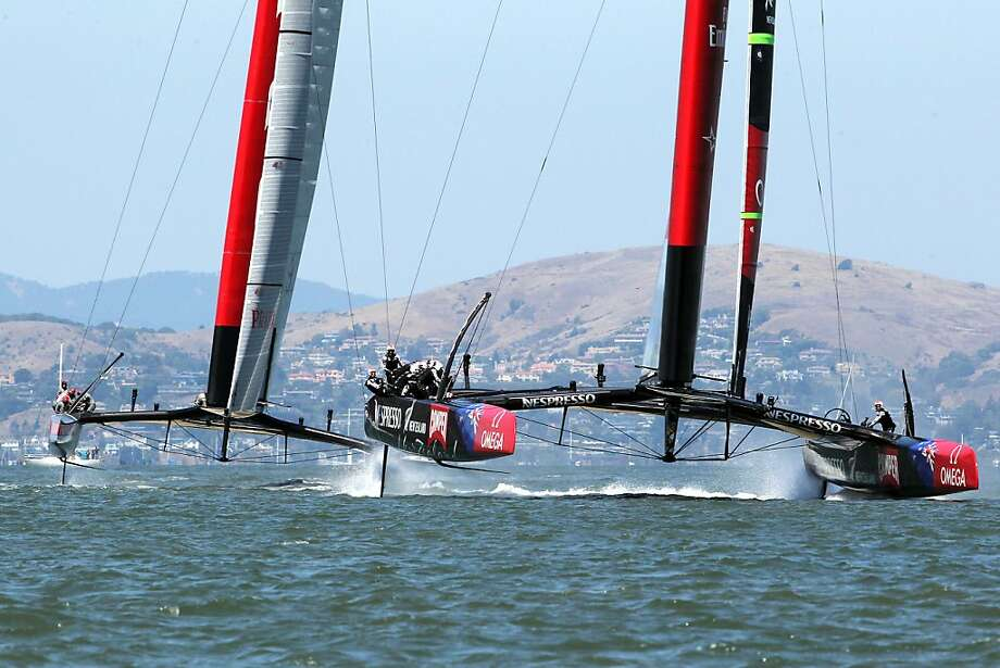 Luna Rossa Challenge chases Emirates Team New Zealand in Wednesday's first race. The Kiwis took a 4-1 lead in the series. Photo: Michael Short, Special To The Chronicle