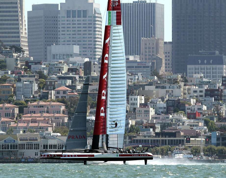 "Luna Rossa, shown racing in the 2013 Louis Vuitton Cup in San Francisco, says it considers the decision to change the size of boats ""illegitimate."" Photo: Michael Short / Special To The Chronicle / ONLINE_YES"