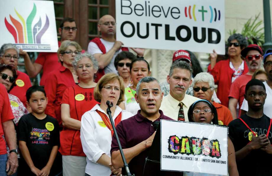 Eric Alva, the gay Marine vet who was the first to be injured in the Iraq war, speaks at a news conference in front of City Hall in response to City Council member Elisa Chan's comments. Photo: Bob Owen / San Antonio Express-News