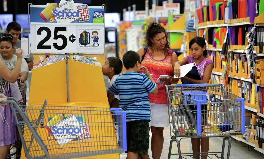 Buy school supplies.If you missed tax-free weekend, no worries: many stores are still running sales. Check the San Antonio Express-News on Sunday for fliers. Photo: Bob Owen, San Antonio Express-News / © 2012 San Antonio Express-News