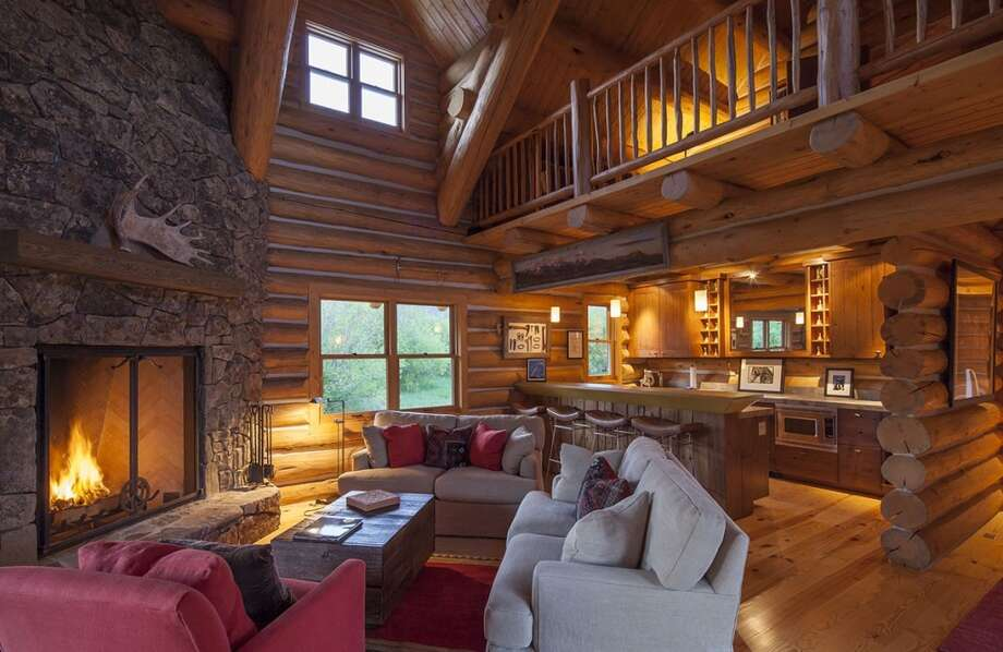 Inside new cabin. All photos via  Hall and Hall. http://hallhall.com/ranches-for-sale/properties/pioneer-moon-ranch
