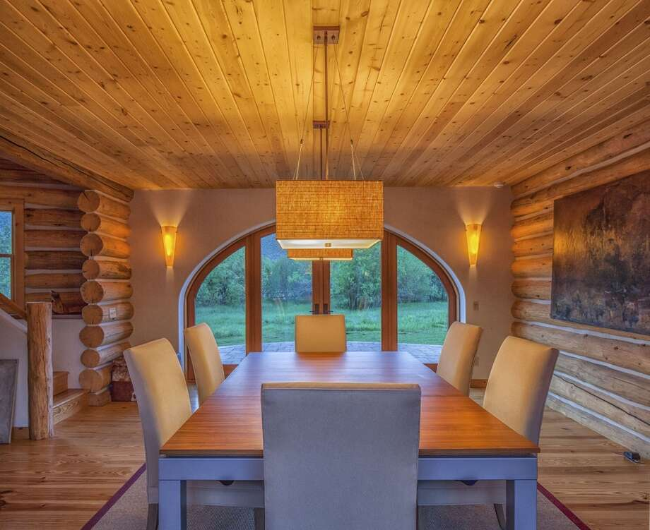 Dining room in new cabin. All photos via  Hall and Hall. http://hallhall.com/ranches-for-sale/properties/pioneer-moon-ranch
