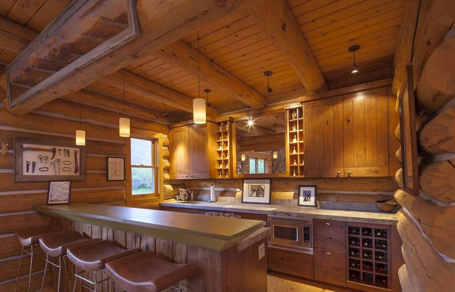 Kitchen, new cabin. All photos via  Hall and Hall. http://hallhall.com/ranches-for-sale/properties/pioneer-moon-ranch