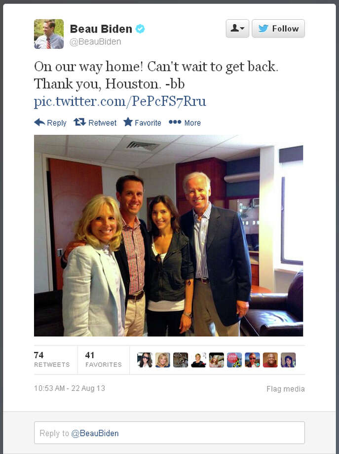 Beau Biden posted this on Twitter about 10:30 a.m. Thursday. Photo: Twitter