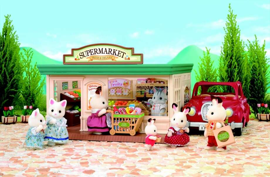 Pretend(Doll play) Calico Critters Supermarket by International Playthings. 3-plus years, $70.  Critters enjoy shopping for yummy, healthy food! With over 100 pieces including fruits, vegetables, bread, fish, canned food, drinks, cookies, ice cream, shopping cart, check-out counter with cash register, display stands, and more.