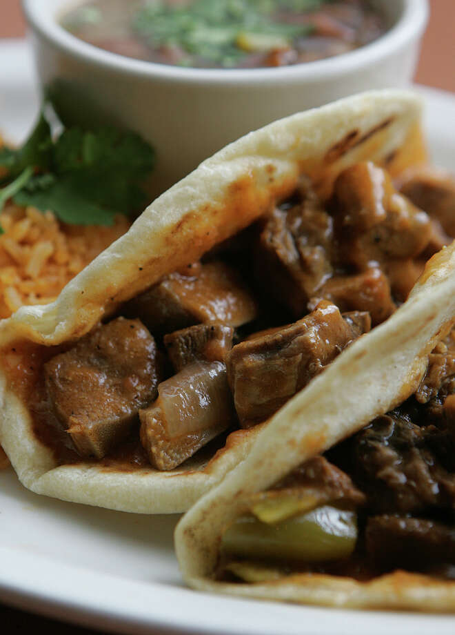 A Lengua taco (usually tongue of from cow ) is generally tender, but still might be difficult for some to talk, or even think about. Photo: KEVIN GEIL, File Photo / SAN ANTONIO EXPRESS-NEWS