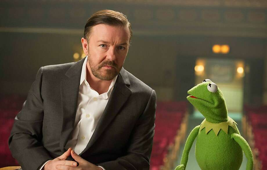 "Ricky Gervais stars with Kermit in the upcoming ""Muppets Most Wanted."" Photo: Jay Maidment, Associated Press"