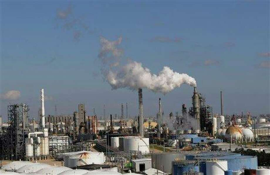 Refineries and chemical plants release steam near the Houston 