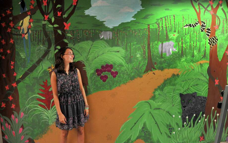 Jessie Kilcourse, 18, of New Fairfield, stands before the mural she painted at her mother's workplace, Danbury Hospital's Main Street Physical Rehabilitation Center, in Danbury, Conn. Monday, Aug. 20, 2013. Photo: Michael Duffy / The News-Times