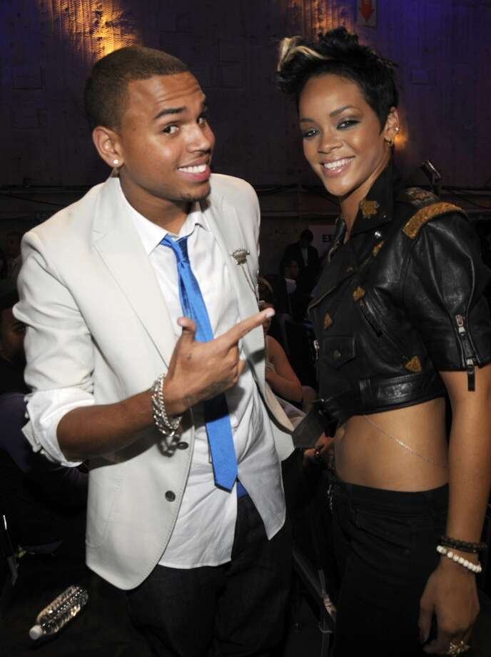 And one of our least-favorite couples. Ever.  Chris Brown and Rihanna are at the 2008 MTV Video Music Awards. In 2009 Brown was charged with beating up Rihanna on the eve of the Grammys. Photo: Kevin Mazur, WireImage