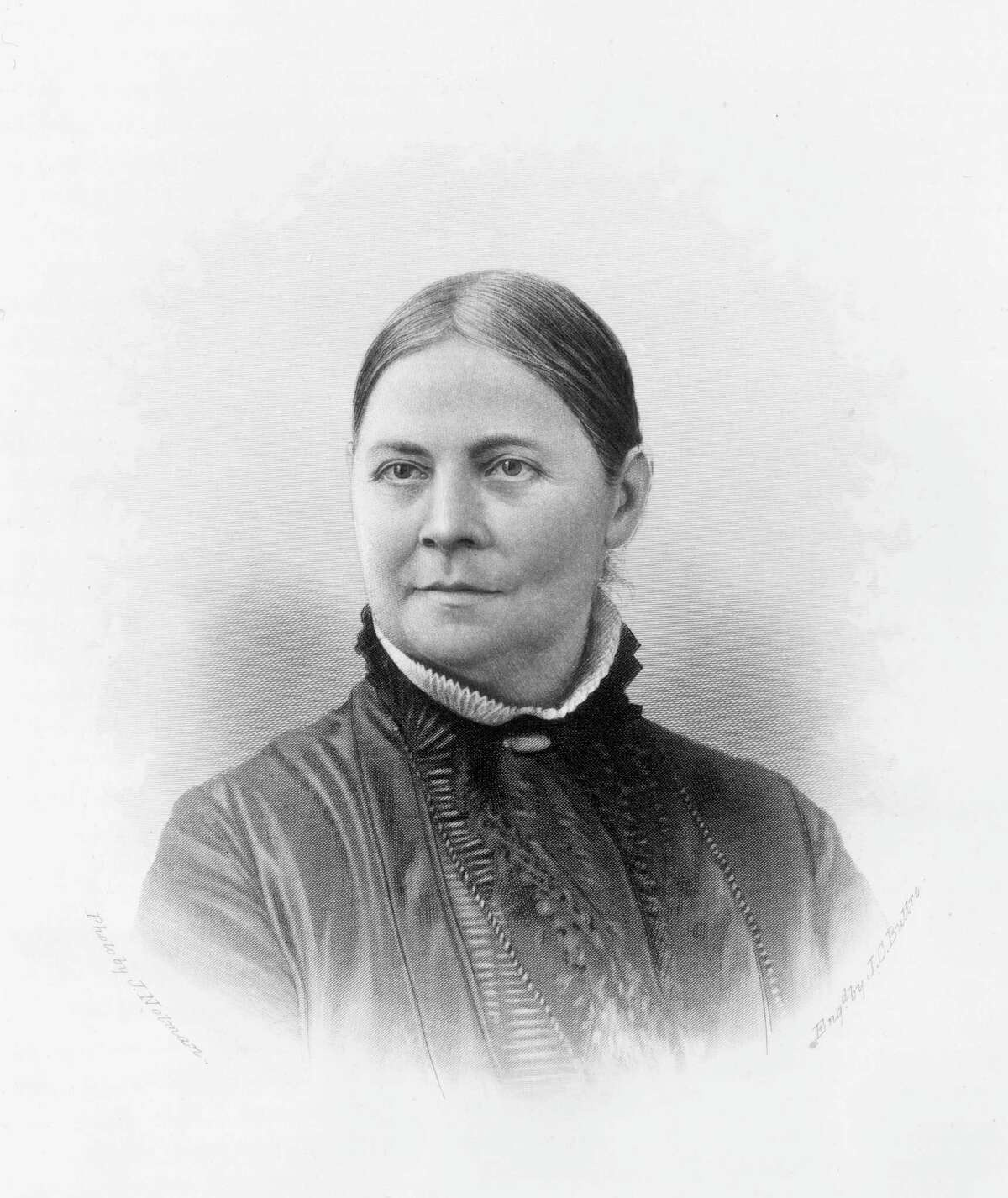 circa 1865: Lucy Stone (1818 - 1893). American suffragist who lectured on women's rights and the abolition of slavery. She organized the first National Women's Rights Convention, the New Jersey Woman Suffrage Association and was coeditor of 'Woman's Journal.' Original Artwork: Engraving by J C Buttre from the photo by J Nolan.
