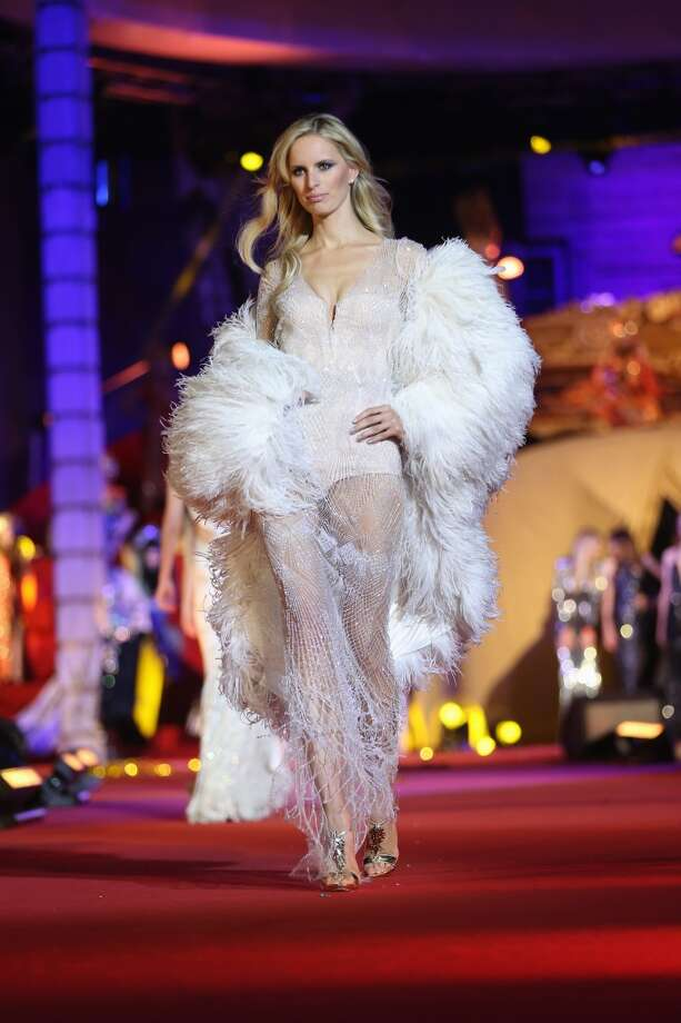 Cold-weather feathers..ok, maybe not.  (Karolina Kurkova) Photo: Sean Gallup/Life Ball 2013, Getty Images