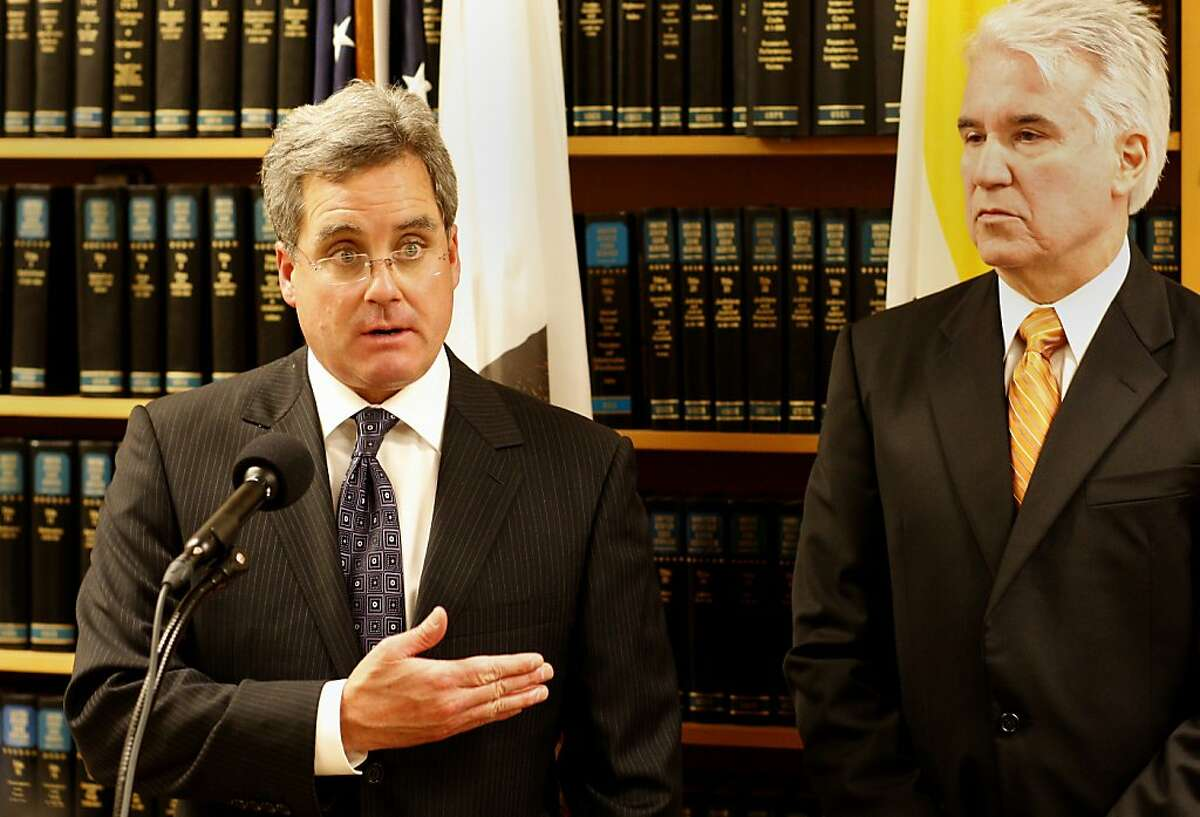 City Attorney Dennis Herrera (left) spoke about working with the District Attorney George Gascon (right) to not only file charges but levy fines as well if people misbehave. San Francisco District Attorney George Gascon announced Tuesday October 30, 2012 that charges will be filed against nine defendants arrested Sunday night after the Giants victory when certain celebrations became violent.