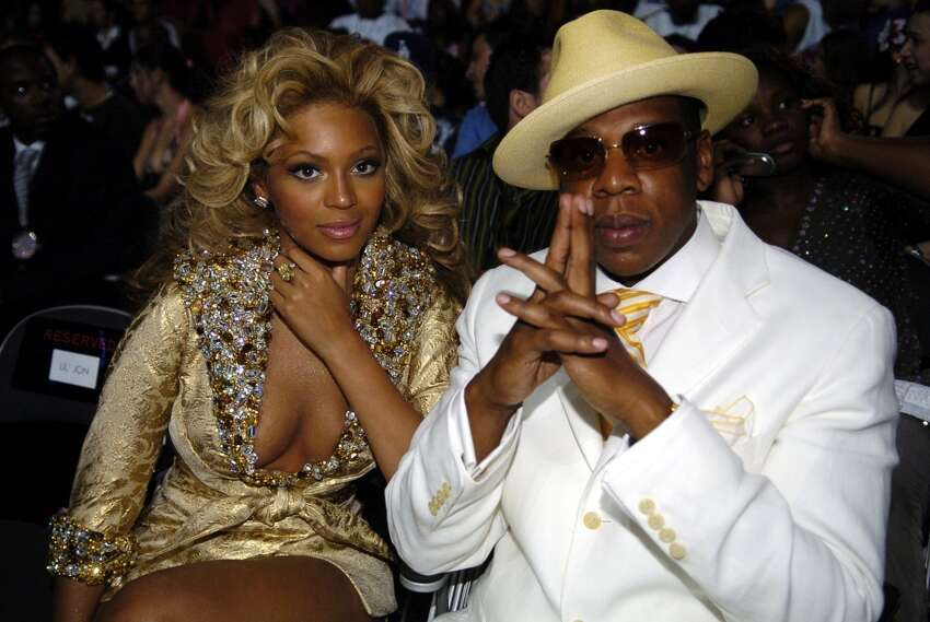 August 29, 2004: Beyonce and Jay-Z rock matching outfits at the 2004 Video Music Awards, the same night as their first red carpet appearance as a couple.