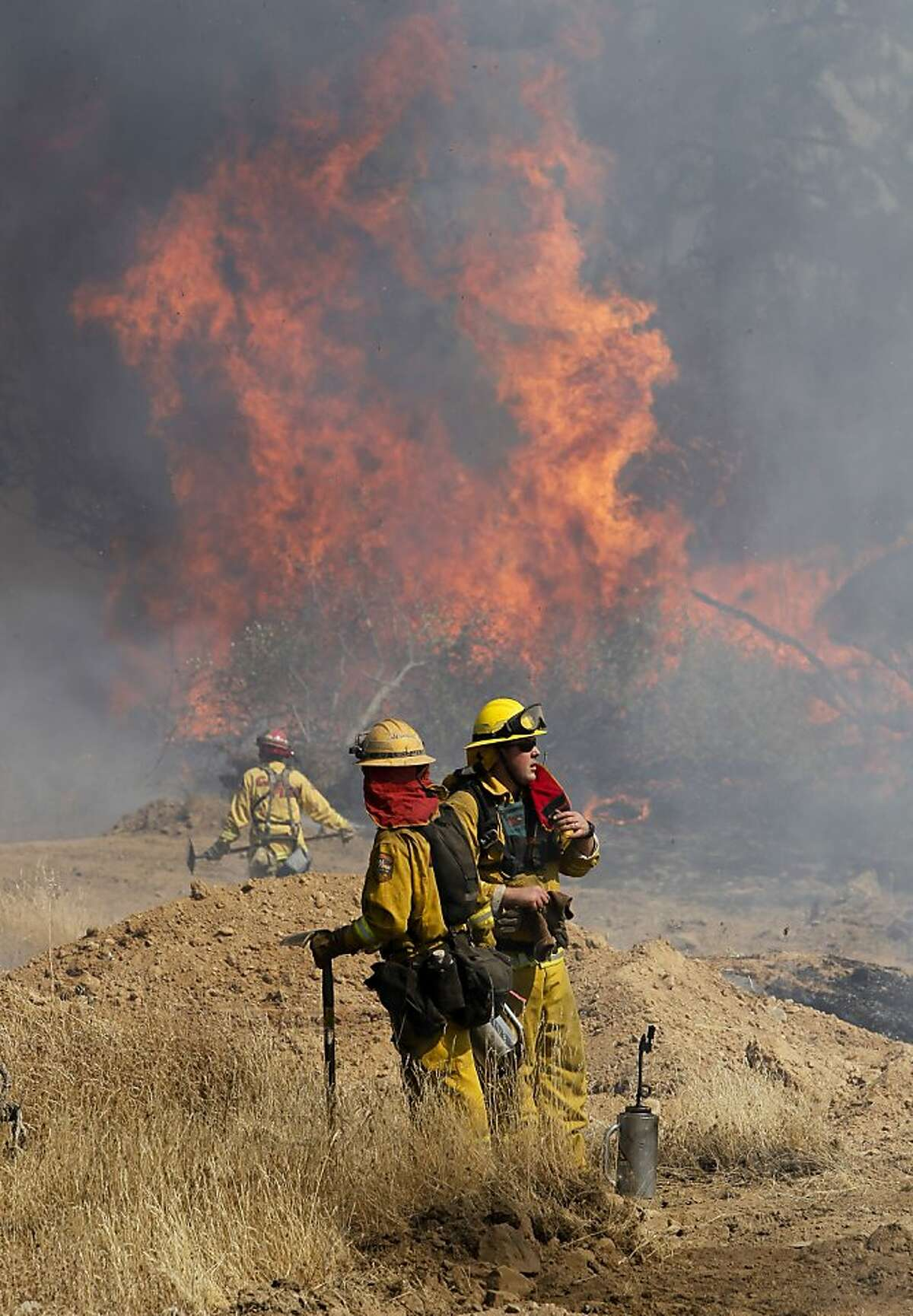 Fire crews set back-fires to prevent the wildfire from crossing Ferretti Rd. on Thursday August 22, 2013, as the Rim Fire has grown to over 36,000 acres in Groveland, Calif.
