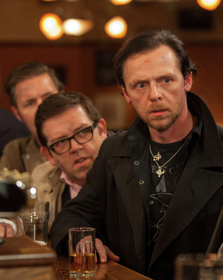 "This film publicity image released by Focus Features shows Simon Pegg, right, and  Nick Frost in a scene from ""The World's End."" (AP Photo/Focus Features, Laurie Sparham) Photo: Laurie Sparham, HOEP / Focus Features"