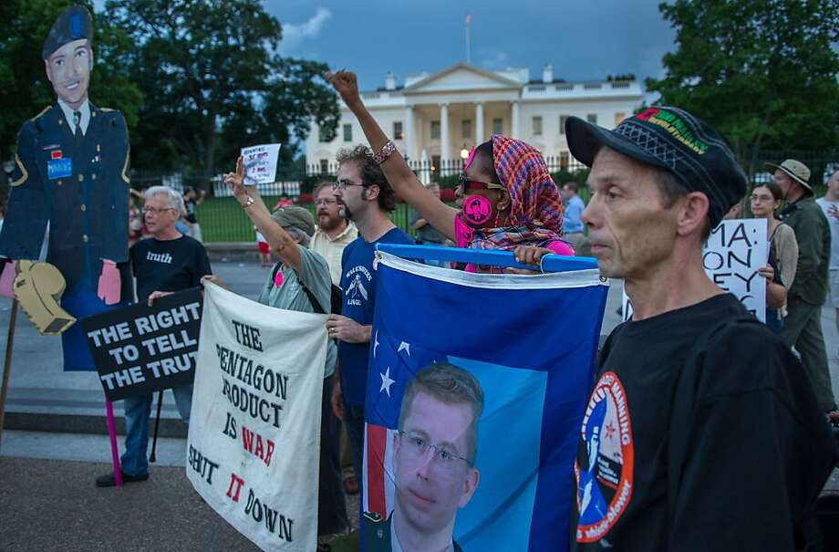 Demonstrators at the White House protest Bradley Manning's conviction for giving files to WikiLeaks. Photo: Paul J. Richards, AFP/Getty Images