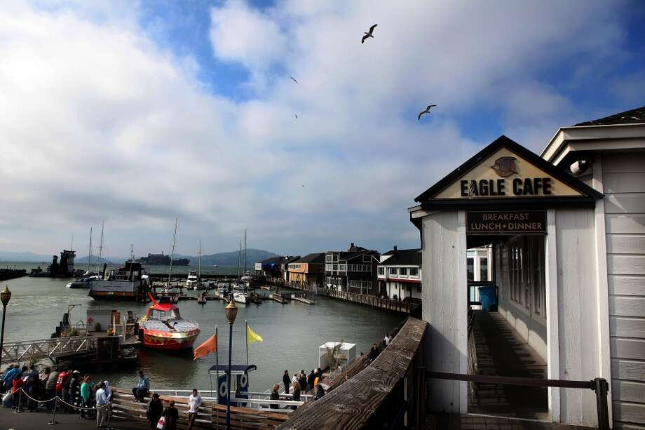 A view of the harbor and Eagle Cafe seen at Pier 39 in San Francisco. Photo: Liz Hafalia, The Chronicle