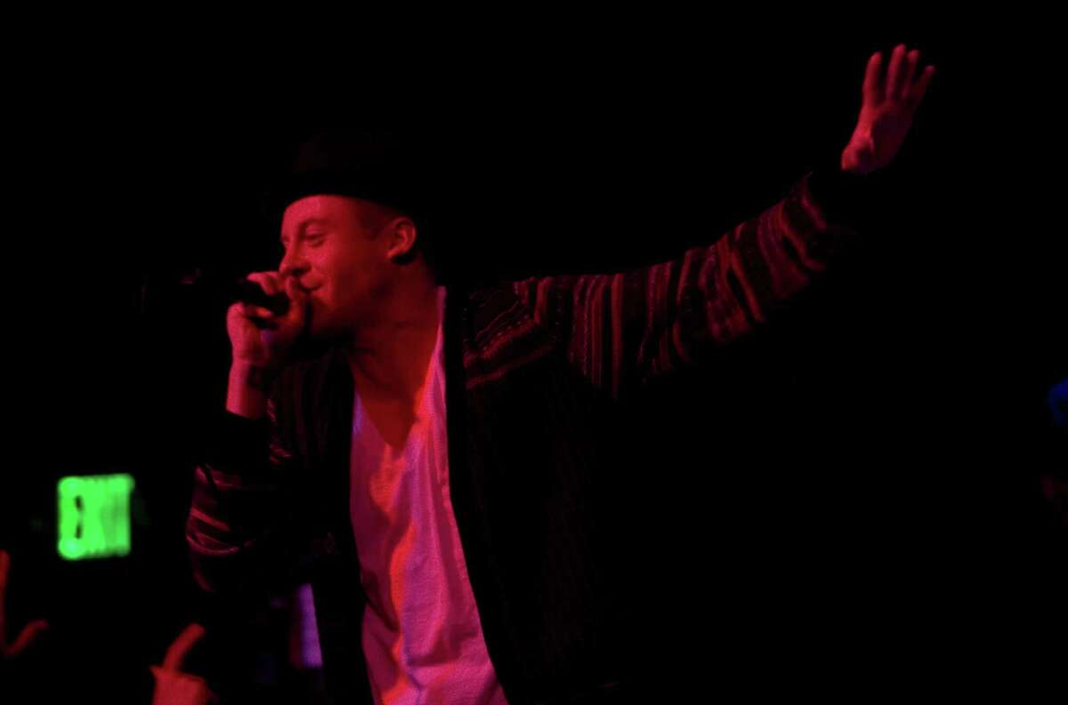 Seattle hip-hop artist Macklemore and his DJ Ryan Lewis performing at Showbox at the Market in Seattle on March 28, 2010, before Blue Scholars.