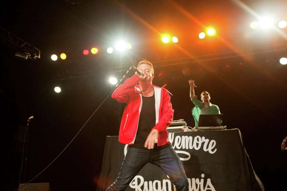 Macklemore and Ryan Lewis of Macklemore & Ryan Lewis performs on stage at Roseland during Musicfest NW on Sept 9, 2011 in Portland, Ore. (Photo by Anthony Pidgeon/Redferns) Photo: Anthony Pidgeon, Getty / 2011 Anthony Pidgeon