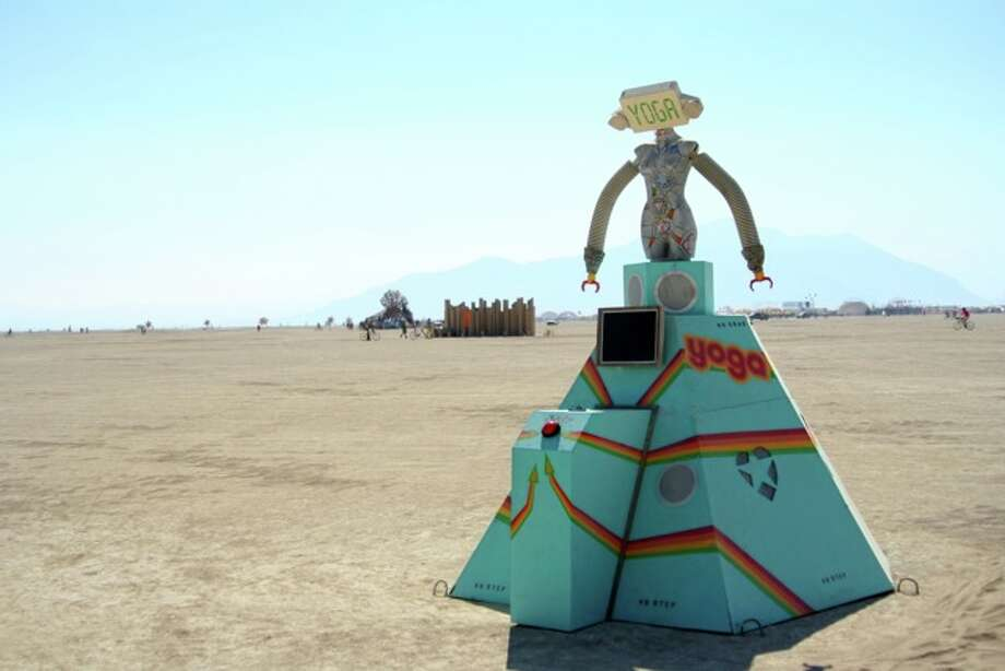 Oh, there was lots of yoga on the playa. This was a weird little sculpture that played a looped recording of a strange female leading a strange class to no one in particular. Cool if you think it is.