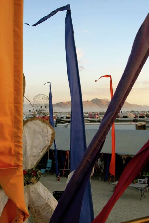 View from atop the Garage Mahal art car, in my camp, sunset.