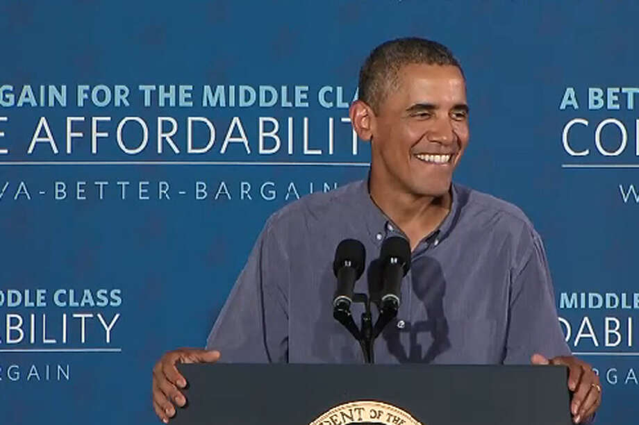 President Barack Obama delivers a speech on making college more affordable for middle-class families at Henninger High School in Syracuse on Thursday, Aug. 22, 2013. Photo: Screenshot From Whitehouse.gov