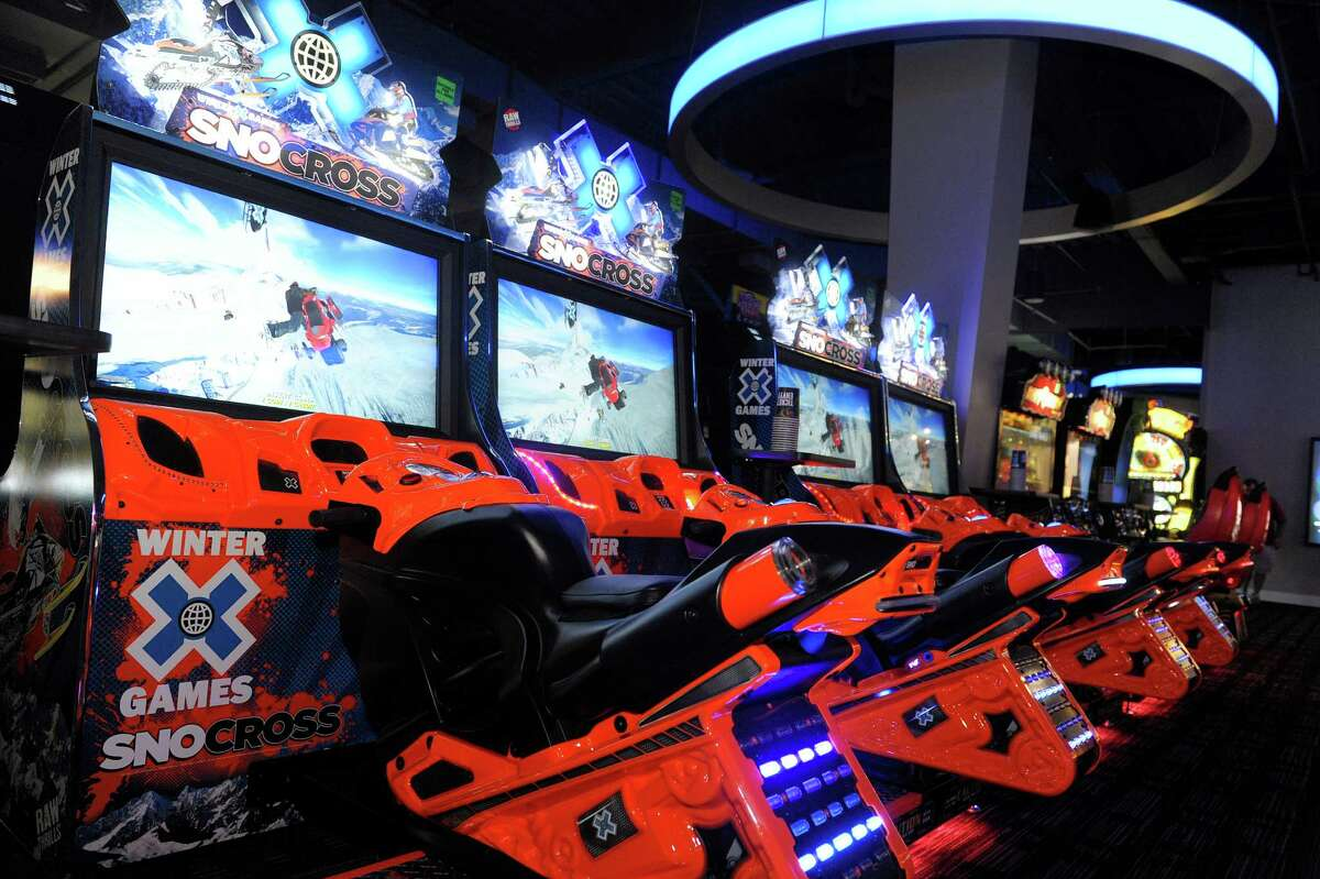 A view of Snocross video games at the new Dave & Buster's, a restaurant/arcade in Crossgates Mall on Thursday, Aug. 22, 2013 in Guilderland, NY. (Paul Buckowski / Times Union)