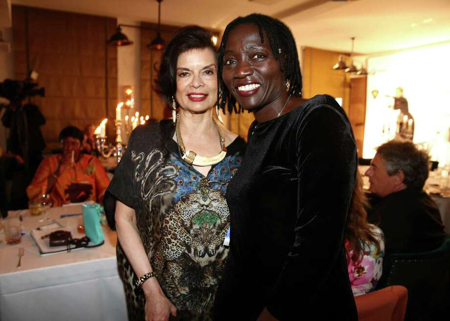 Bianca Jagger and Auma Obama attend the Cinema for Peace UN women charity dinner at Soho House on July 12, 2013 in Berlin, Germany. Photo: Andreas Rentz, Getty Images For Cinema For Peac / 2013 Getty Images