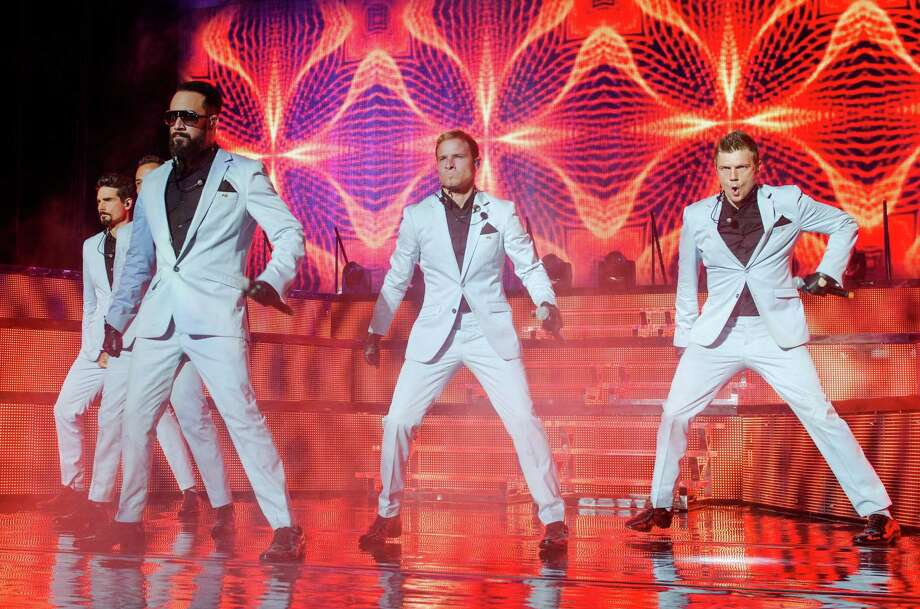 (L-R) Kevin Richardson, Howie Dorough, AJ McLean, Brian Littrell and Nick Carter of the Backstreet Boys perform at Nikon at Jones Beach Theater on Aug. 13, 2013 in Wantagh, New York. Photo: Mike Pont, FilmMagic / 2013 Mike Pont