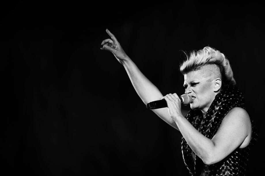 (EDITOR'S NOTE: This image was processed using digital filters) Singer Peaches performs during the 66th Locarno Film Festival on Aug. 14, 2013 in Locarno, Switzerland. Photo: Vittorio Zunino Celotto, Getty Images / 2013 Getty Images