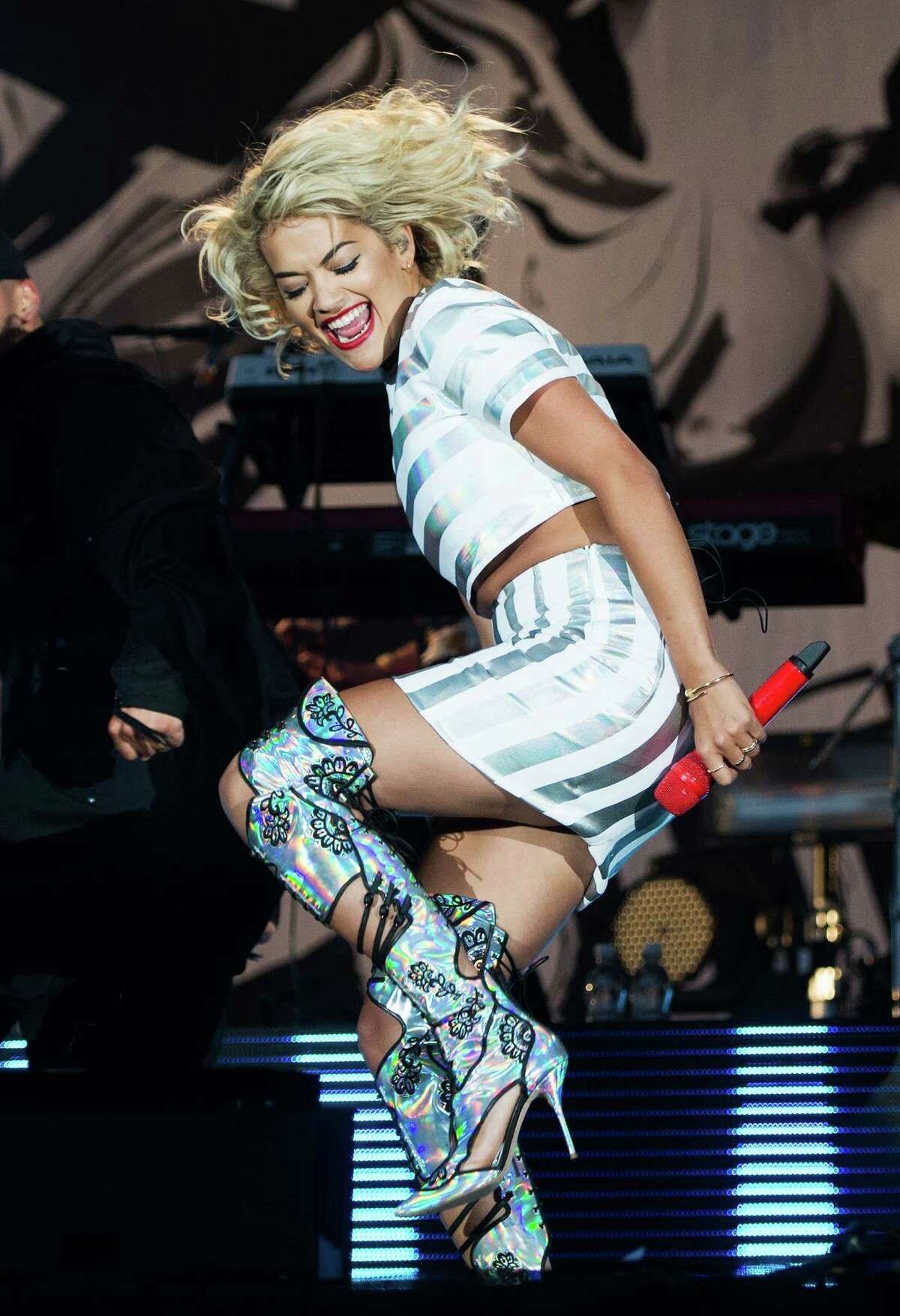 Rita Ora performs live on the 4 Music Stage on day 2 of V Festival at Hylands Park on Aug. 18, 2013 in Chelmsford, England.