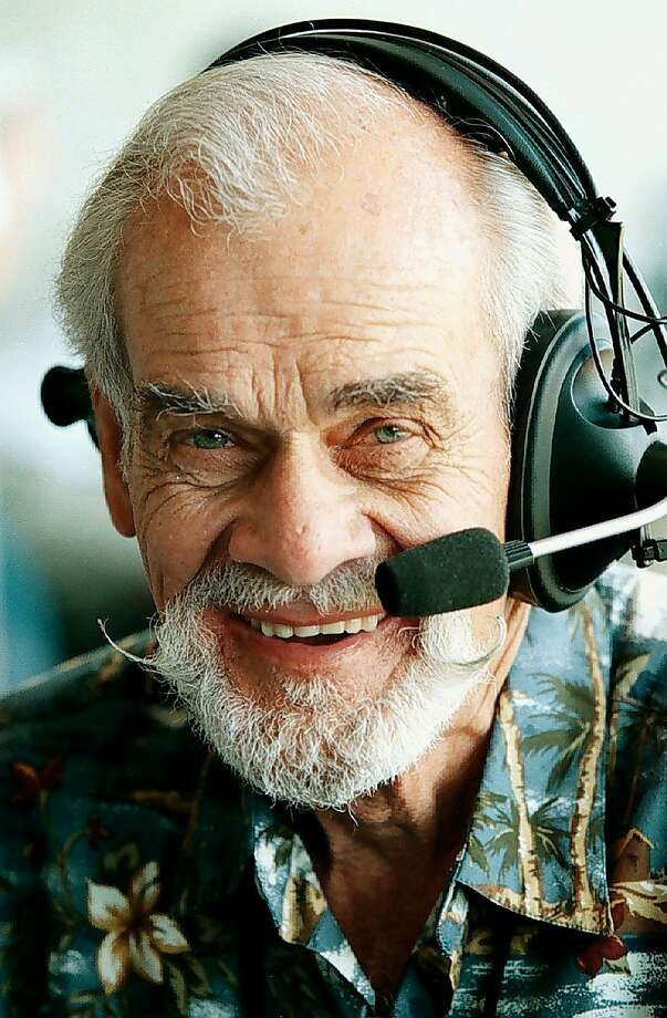 "Longtime Oakland Athletics radio voice Bill King is shown in this photo taken Thursday, April 15, 1999, in Oakland Calif. King, whose signature call of ""Holy Toledo!"" was a household phrase for decades in the Bay Area, died early Tuesday, Oct. 18, 2005, from complications following hip surgery. He was 78. The A's said King died about 12:20 a.m. at a hospital in nearby San Leandro, three days after undergoing surgery for an injury sustained earlier this year. (AP Photo/Oakland Tribune, Nick Lammers) ** MAGS OUT, NO SALES, MANDATORY CREDIT **  Ran on: 10-19-2005 Bill King, shown in 1999, was the voice of the Warriors, Raiders and A's during his long broadcasting career.   Ran on: 10-19-2005 Bill King, shown in 1999, was the voice of the Warriors, Raiders and A's during his long broadcasting career.  ALSO Ran on: 10-23-2005 Bill King's death prompted an outpouring of praise.  Ran on: 10-23-2005 Bill King's death prompts an outpouring of praise. ALSO Ran on: 07-22-2007 Bill King, a renowned Bay Area sports announcer, died in 2005 after surgery to repair his hip. Ran on: 07-22-2007 Photo: Nick Lammers, AP"
