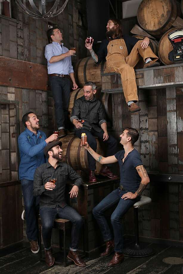 Bartenders Mike Lay (clockwise, from top left), Matthew Campbell, Chris Lane, Dan Chavez Stahl, Lucien Sankey and Matt Conway (center) have conceived brilliant drinks in everyday settings without necessarily traveling down the hallowed mixology path. Photo: Liz Hafalia, The Chronicle