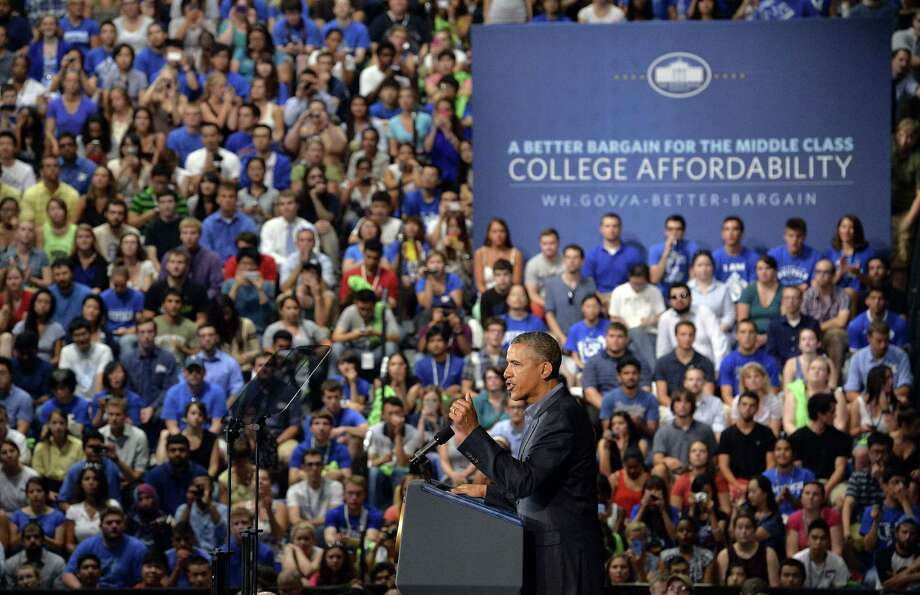 President Barack Obama speaks in Buffalo, N.Y., on Thursday during a two-day bus tour on college costs. Photo: JEWEL SAMAD, Staff / AFP