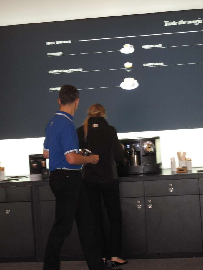 Media Center at America's Cup Park, Aug. 21, 2013; Nespresso's the sponsor so there's plenty o' joe Photo: Lea Garchik