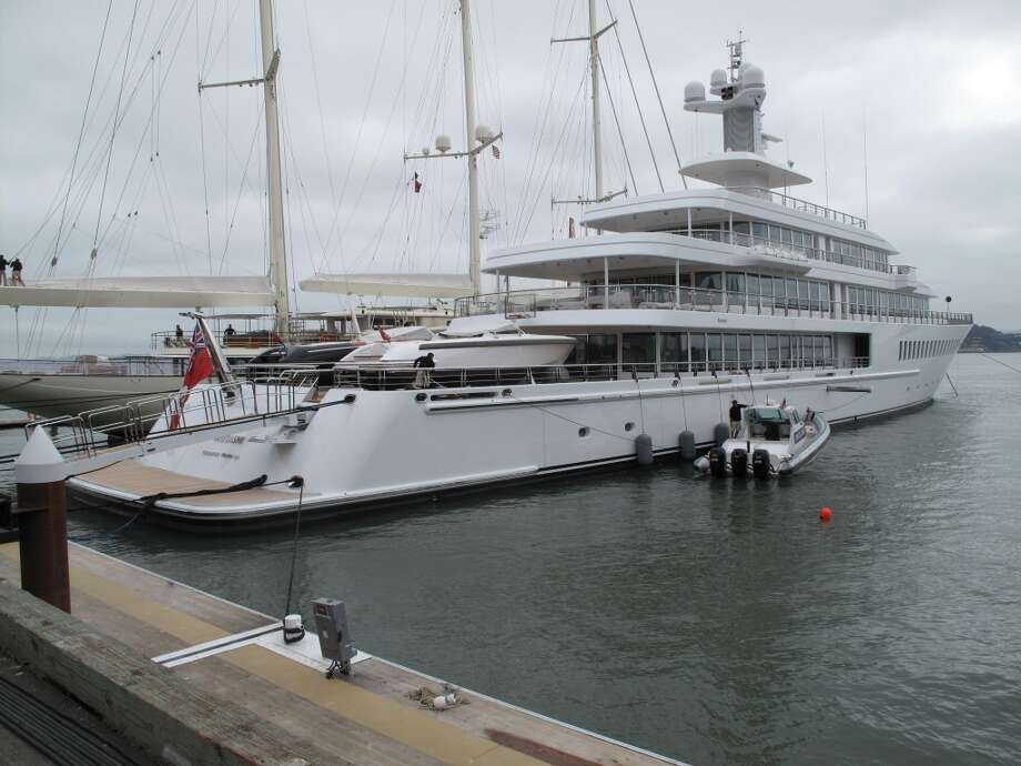 America's Cup Park pier, Aug. 21, 2013; One of Larry Ellison's yachts (what do you mean, yachting isn't a sport for millionaires?) Photo: Leah Garchik